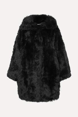 Balenciaga Swing Oversized Faux Fur Coat - Black
