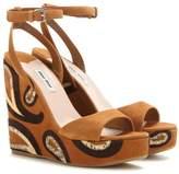 Miu Miu Suede wedge sandals