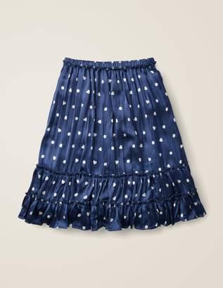 Boden Printed Ruffle Midi Skirt