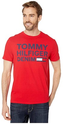Tommy Hilfiger Lock Up Flag T-Shirt (Grey Heather) Men's Clothing