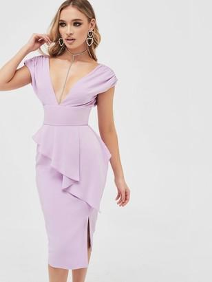 Lavish Alice Deep Plunge Peplum Midi Dress - Lilac