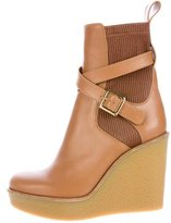 Chloé Leather Wedge Ankle Boots