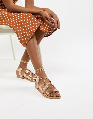 South Beach Rose Gold Gladiator Sandals