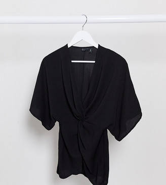 ASOS DESIGN Petite knot front top with kimono sleeve in black