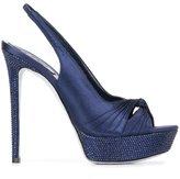 Rene Caovilla sling back platform sandals - women - Leather/Swarovski Crystal/PVC/Satin - 37.5