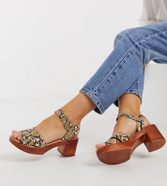 Simply Be wide fit wood platforms in snake