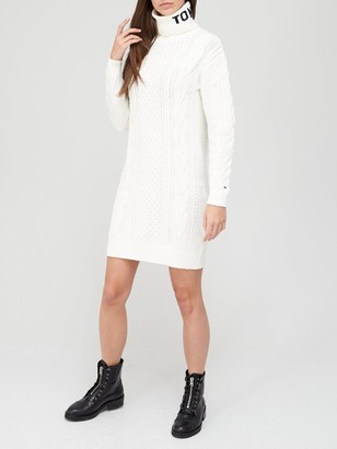 Tommy Jeans Turtle Neck Long Line Cable Knit Dress - Snow White