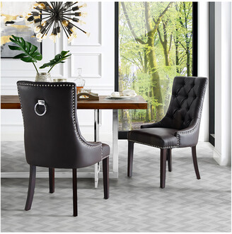 INSPIRED HOME Set Of 2 Harry Leather Dining Chair