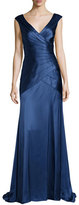 Kay Unger New York Sleeveless Tiered Satin Gown, Indigo