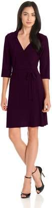 Star Vixen Women's 3/4 Sleeve Faux Wrap Dress