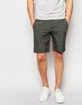 Asos Slim Chino Shorts In Nylon In Dark Khaki