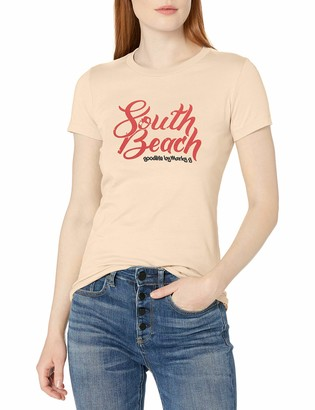 South Beach Marky G Apparel Women's Casual Short Sleeve Crewneck Tops Slim Fit T-Shirt with Printed