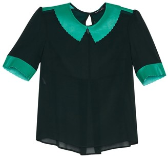 Manley Alisha Silk Top With Leather Collar Green