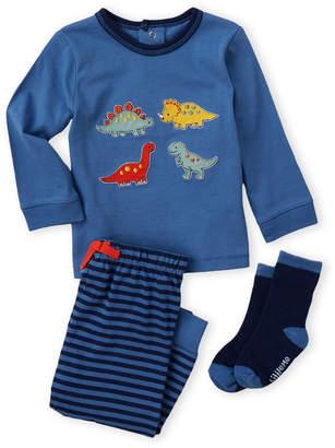 Little Me Newborn Boys) 3-Piece Dinosaur Tee & Striped Joggers Set