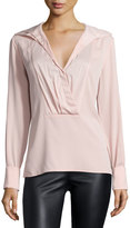 Halston Long-Sleeve Pleated-Front Shirt, Sorbet