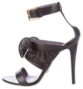 Ungaro Leather Ruffle Sandals