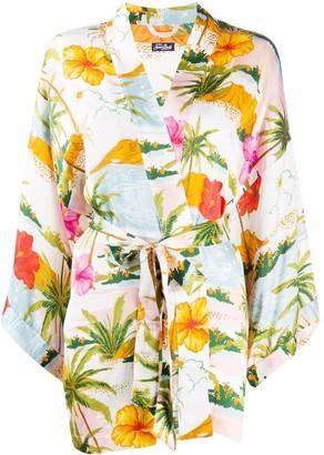 MC2 Saint Barth Floral-Print Belted Kimono