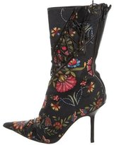 Christian Dior Printed Canvas Pointed-Toe Ankle Boots