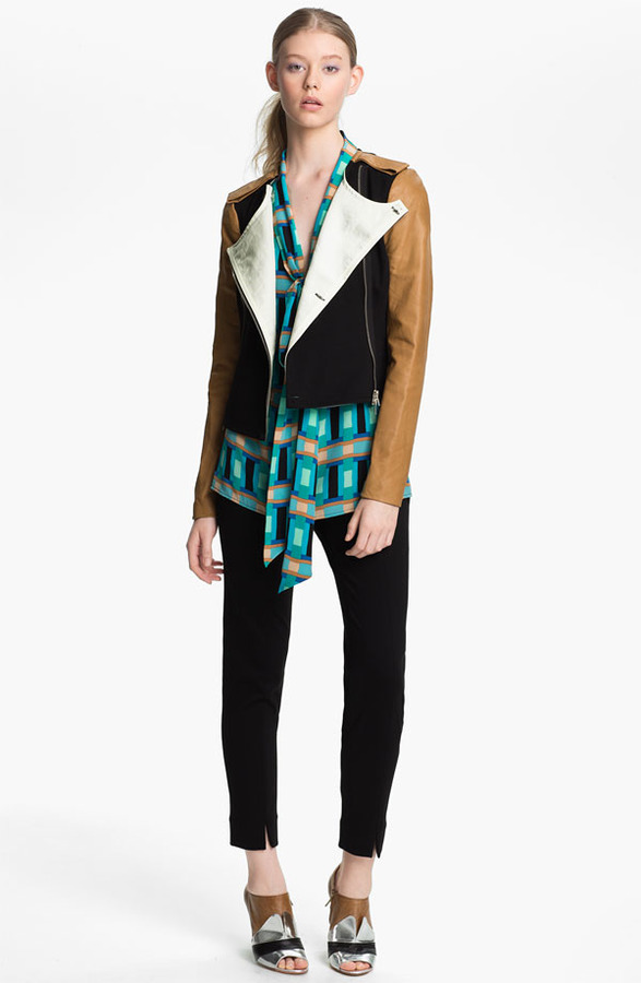 Tracy Reese Leather Sleeve Ponte Knit Jacket