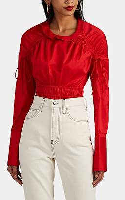 Teija Women's Open-Back Cotton Poplin Blouse - Red