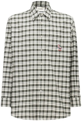 Gucci Embroidered Patch Check Cotton Shirt