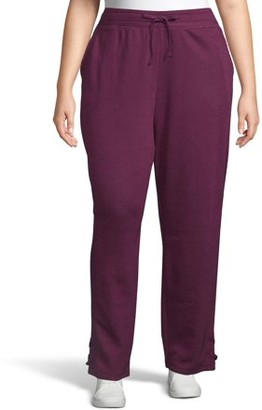 Just My Size Women's Plus Size French Terry Jogger Sweatpants with Lace-Up Legs