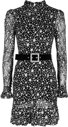 Rebecca Vallance Notte star-print belted lace mini dress