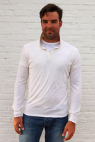 Simon Spurr White Cashmere Long Sleeve Polo