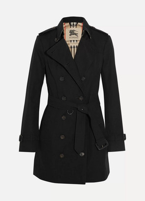 Burberry The Sandringham Mid Cotton-gabardine Trench Coat - Black