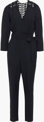 Sandro Noya Open-back Guipure Lace And Crepe Jumpsuit
