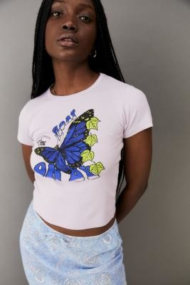 Urban Outfitters Butterfly Float Baby T-Shirt - Purple XS at
