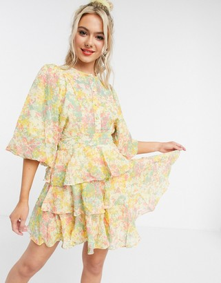 ASOS DESIGN soft tiered mini dress in ditsy floral print