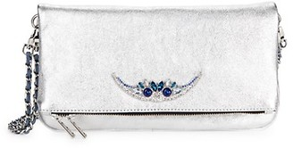 Zadig & Voltaire Embellished Leather Convertible Clutch