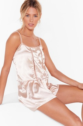 Nasty Gal Womens Don't Wake Me Up Satin Pajama Shorts Set - Champagne