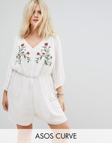 Asos Beach Romper With Floral Embroidery