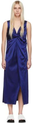 Marina Moscone Blue V-Neck Twisted Dress
