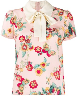 RED Valentino Flowers And Butterflies Printed Blouse