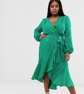 Flounce London Plus wrap front satin midi dress in emerald