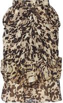 Givenchy Ruched Silk-chiffon Skirt - Leopard print