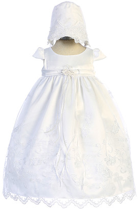 Kid's Dream Girls' Special Occasion Dresses White - White Cross Embroidered Christening Gown - Newborn & Infant
