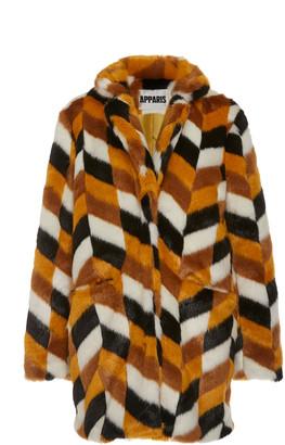 Apparis Camille Color-Blocked Faux Fur Coat