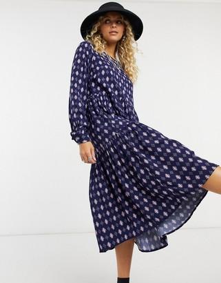 Vila tiered smock dress in multi print