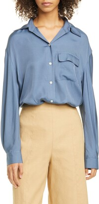 Vince Easy Utility Silk Blend Button-Up Shirt
