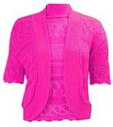 Momo Fashions - Women's Plus Size Crochet Knitted Short Sleeve Cardigan (USA 24-26 (UK 26-28), )