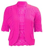 Momo Fashions - Women's Plus Size Crochet Knitted Short Sleeve Cardigan