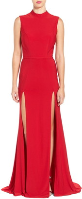 Mac Duggal Mock Neck Double Slit Sleeveless Gown