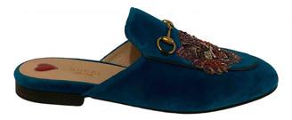 Gucci Princetown Blue Velvet Flats