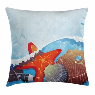 """East Urban Home Starfish Decor Foaming Ocean Square Pillow Cover East Urban Home Size: 16"""" x 16"""""""