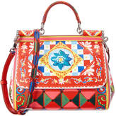 Dolce & Gabbana Sicily Medium Mambo Print Leather Satchel