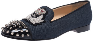 Christian Louboutin Blue/Black Denim And Patent Spiked Cap Toe Harvanana Smoking Slippers Size 40.5